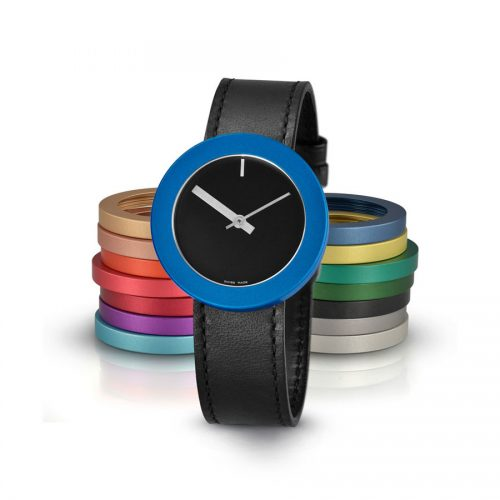 Pierre Junod Vignelli Thick and Thin horloge zwart zwarte band