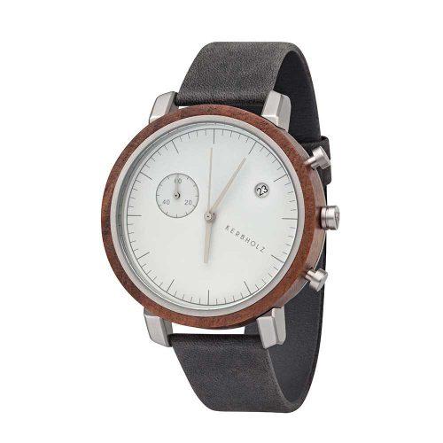 Kerbholz Franz Walnoot Asphalt horloge