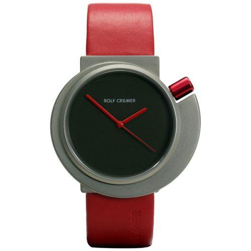 Rolf Cremer Staples 42 horloge met witte wijzerplaat en zwarte band