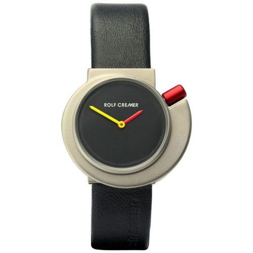 Rolf Cremer Spirale Uhr mit silbernem Zifferblatt und rotem Armband