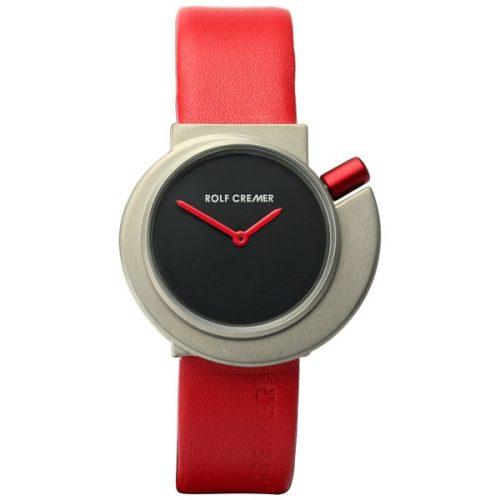Rolf Cremer Spirale horloge met zilverkleurige wijzerplaat en rode band