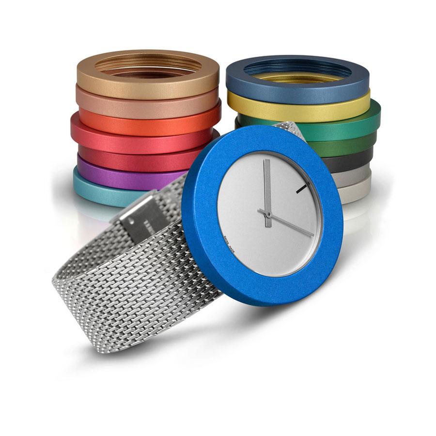 Pierre Junod Vignelli Large horloge grijs milanese band