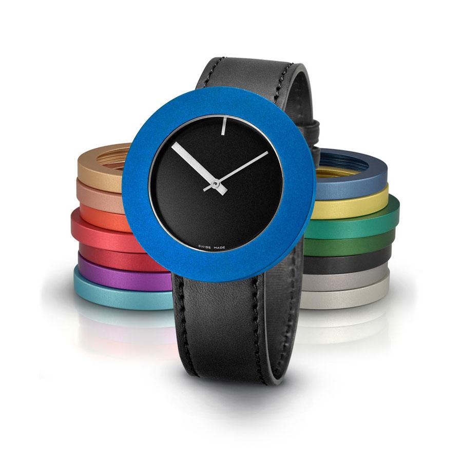 Pierre Junod Vignelli Large horloge zwart zwarte band